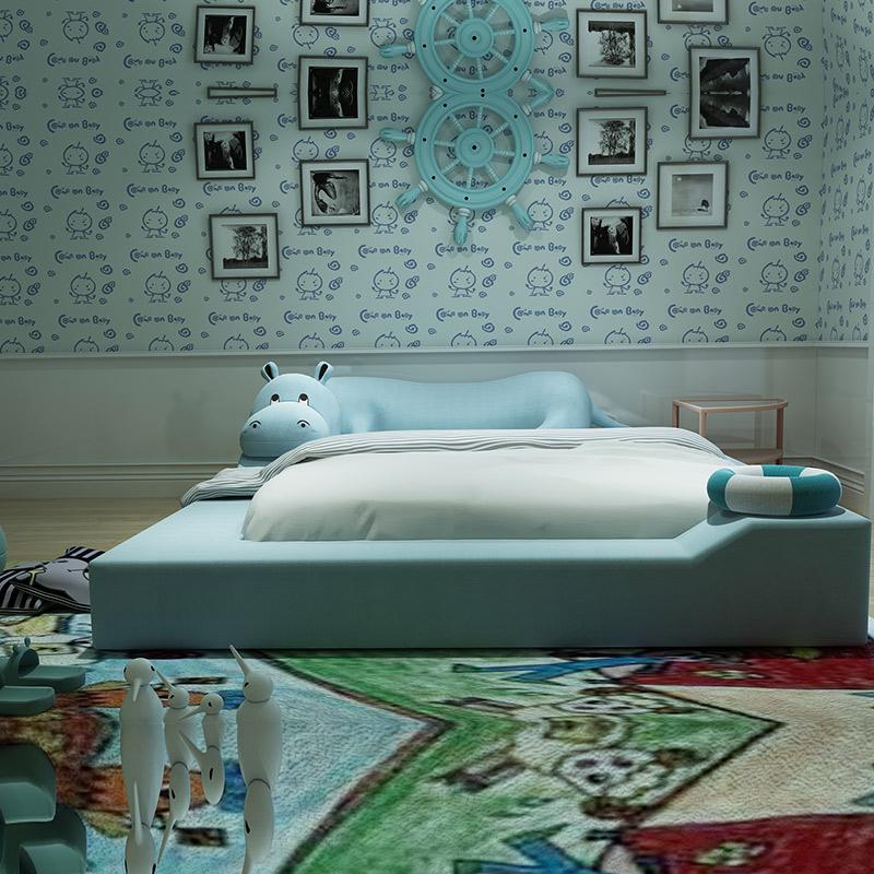 慕思儿童卡通床1.5米宝宝男孩单人布艺床1.2米河马