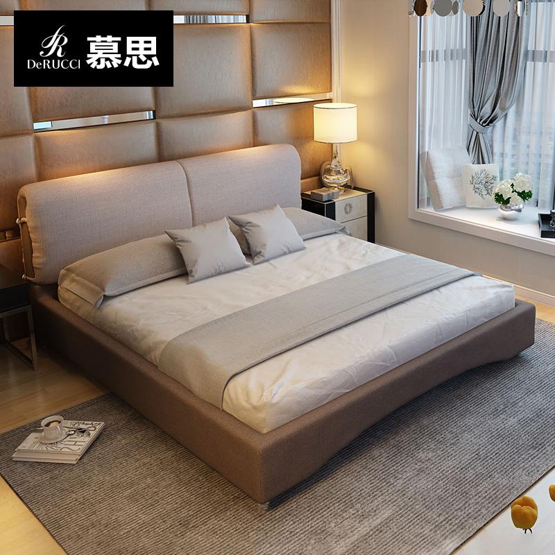 慕思床垫婚床1.8米双人床小户型布床VB-112